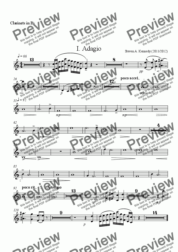 page one of the Clarinets in B^b part from Symphony # 2 (Movement 1)