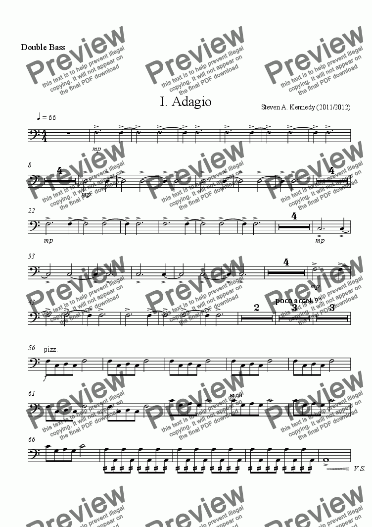 page one of the Double Bass part from Symphony # 2 (Movement 1)