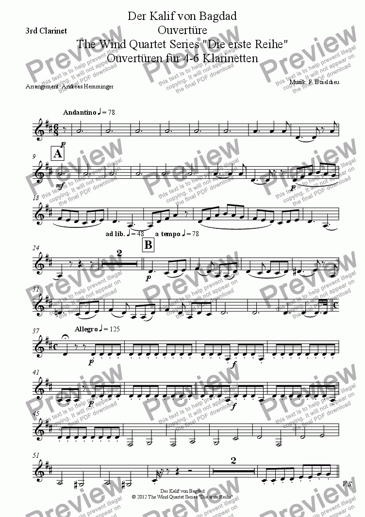 page one of the 3rd Clarinet part from Overture, Kalife of Bagdad