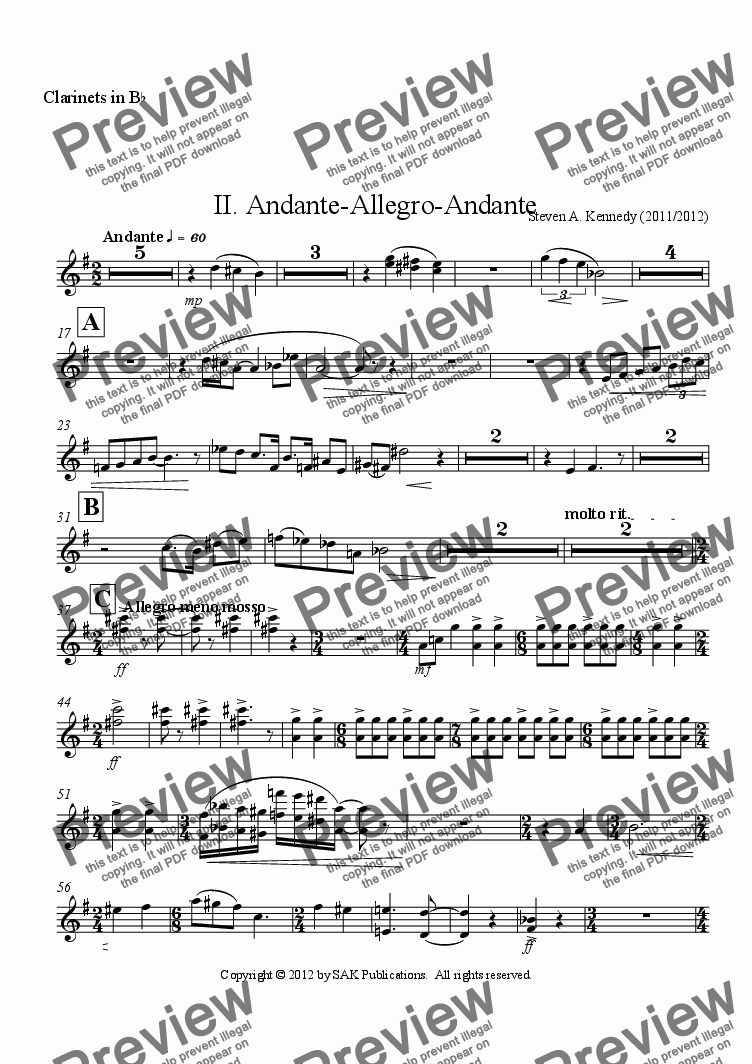 page one of the Clarinets in B^b part from Symphony #2 (Movement 2)