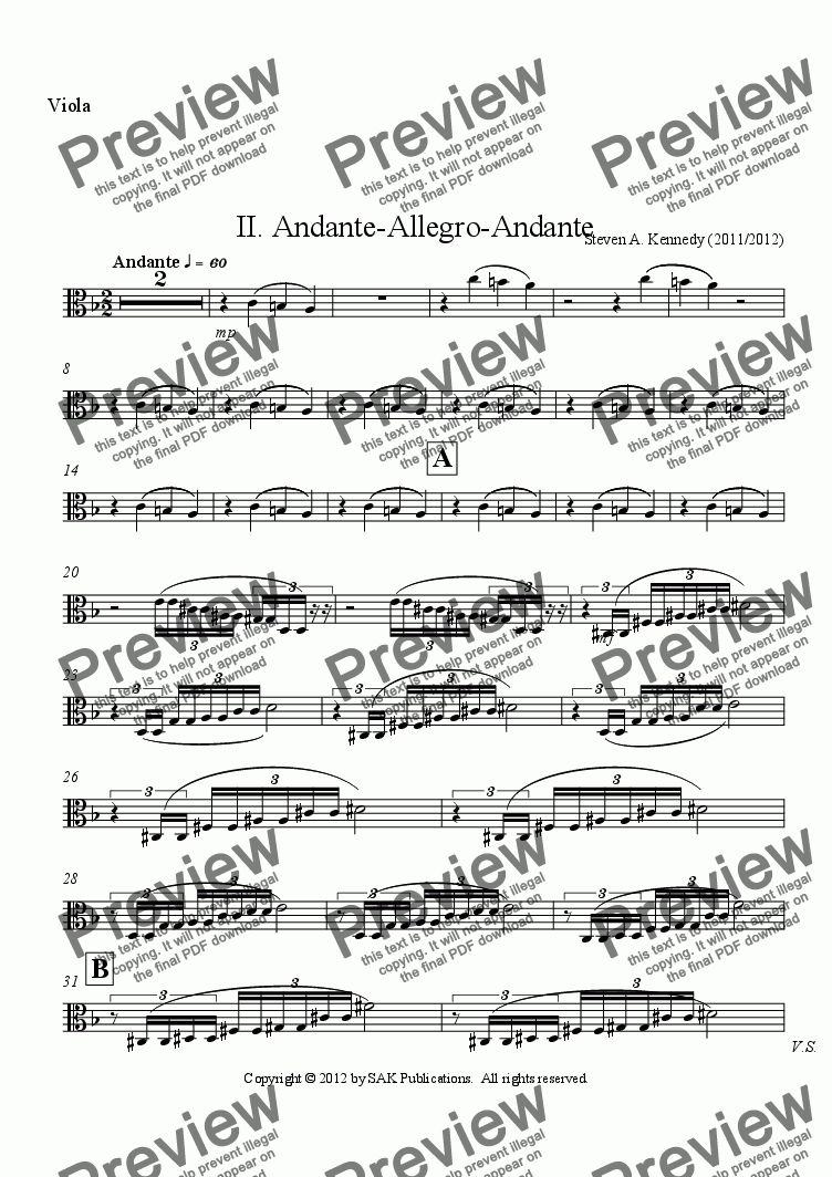 page one of the Viola part from Symphony #2 (Movement 2)