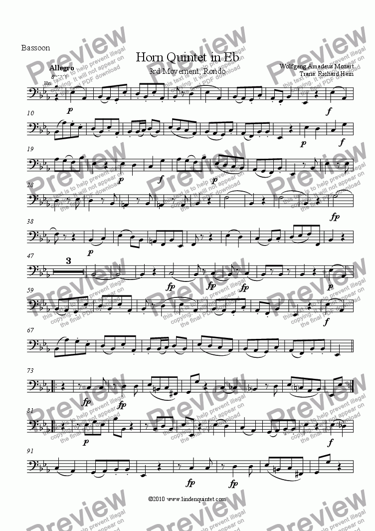 page one of the Bassoon part from Mozart - Horn Quintet KV 407 Movement 3, Rondo