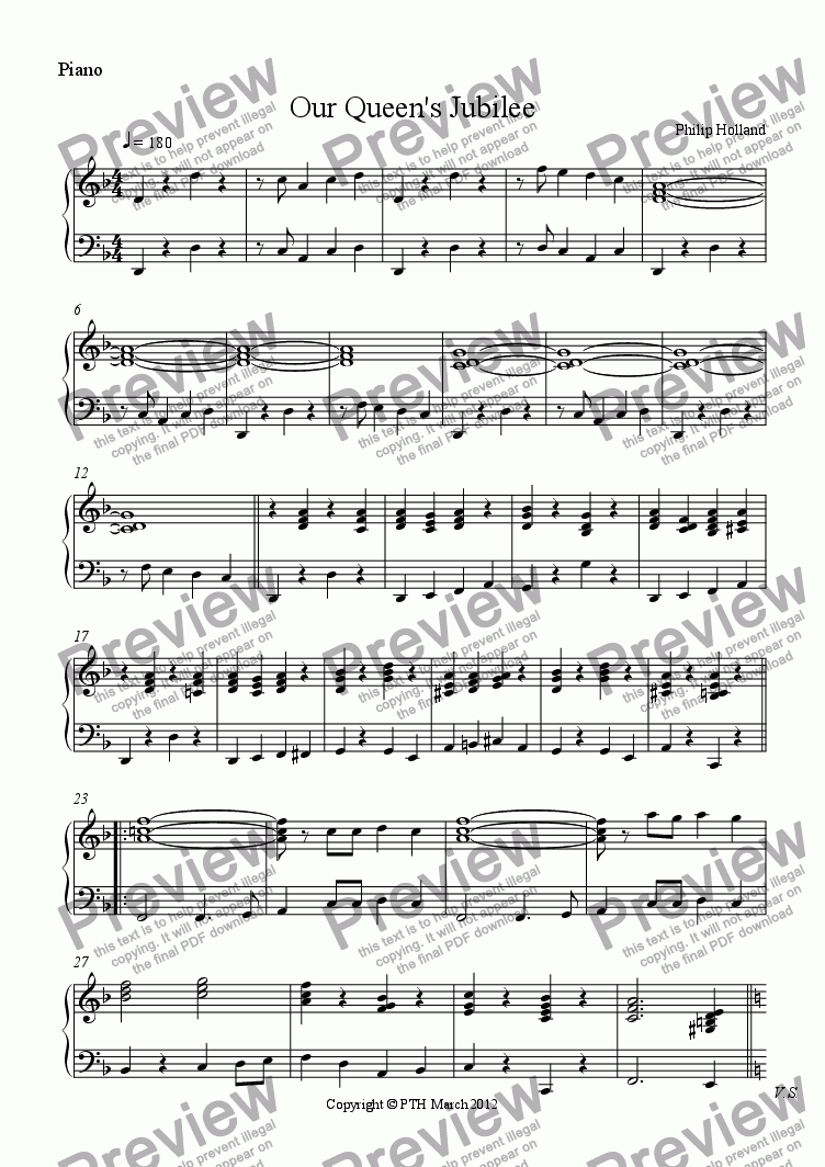 page one of the Piano part from Our Queen's Jubilee