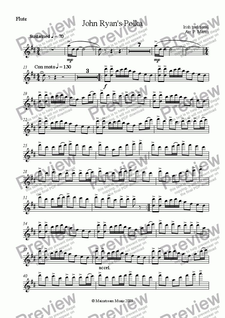 page one of the Flute part from John Ryan's Polka