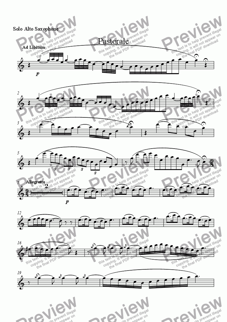page one of the Solo Alto Saxophone part from Pastorale (Solo Alto Saxophone and Wind Ensemble)