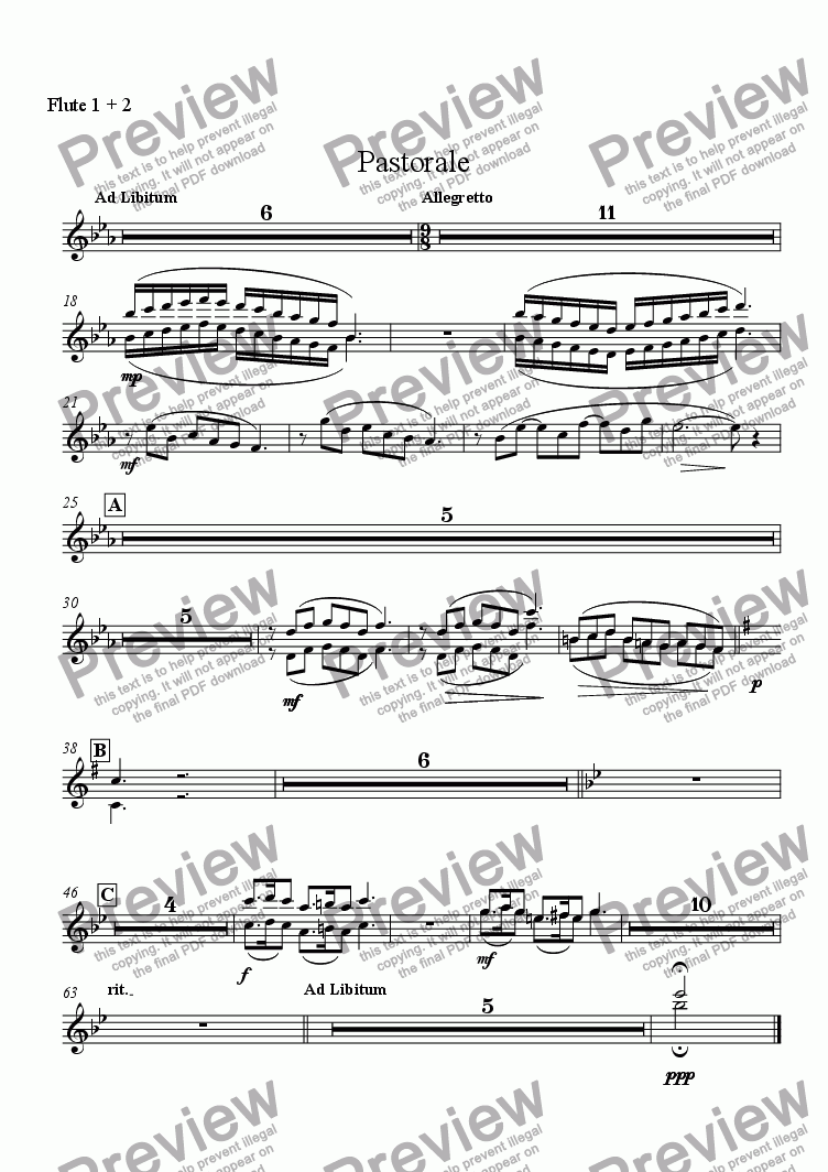 page one of the Flute 1 + 2 part from Pastorale (Solo Alto Saxophone and Wind Ensemble)