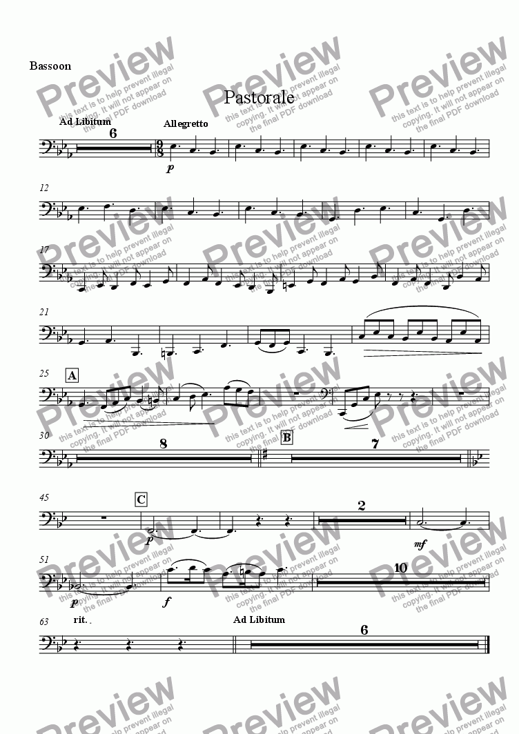 page one of the Bassoon part from Pastorale (Solo Alto Saxophone and Wind Ensemble)