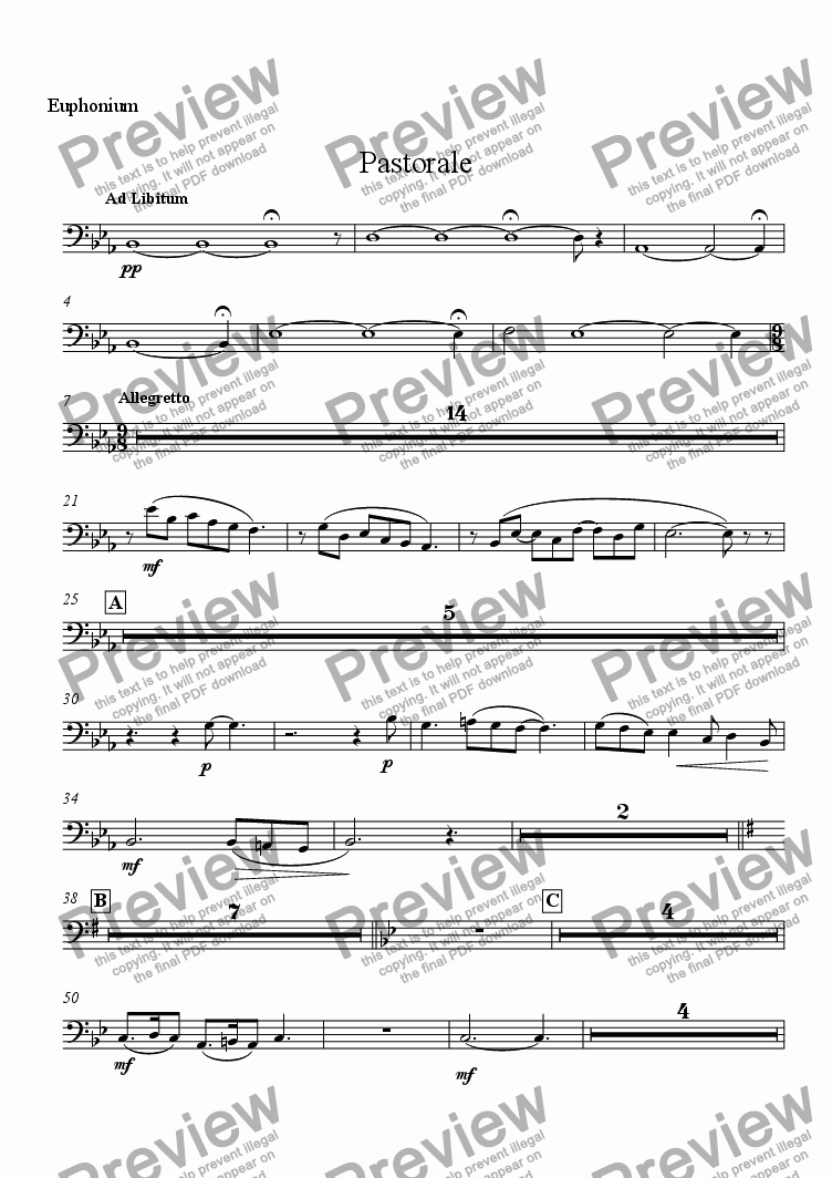 page one of the Euphonium part from Pastorale (Solo Alto Saxophone and Wind Ensemble)