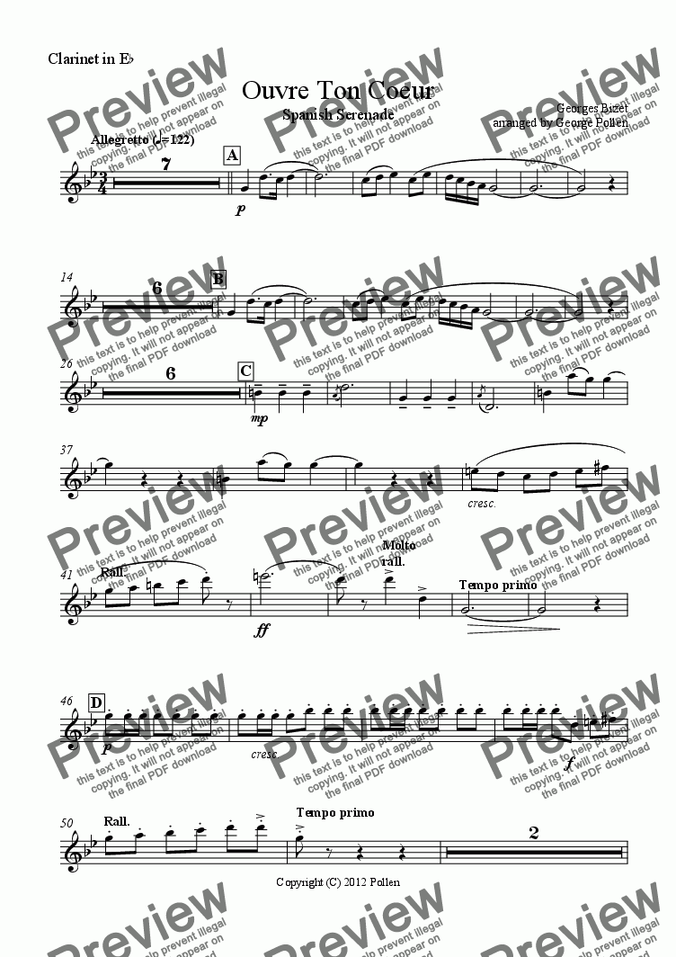 page one of the Clarinet in Eb part from Ouvre Ton Coeur (Open your heart) (CB)