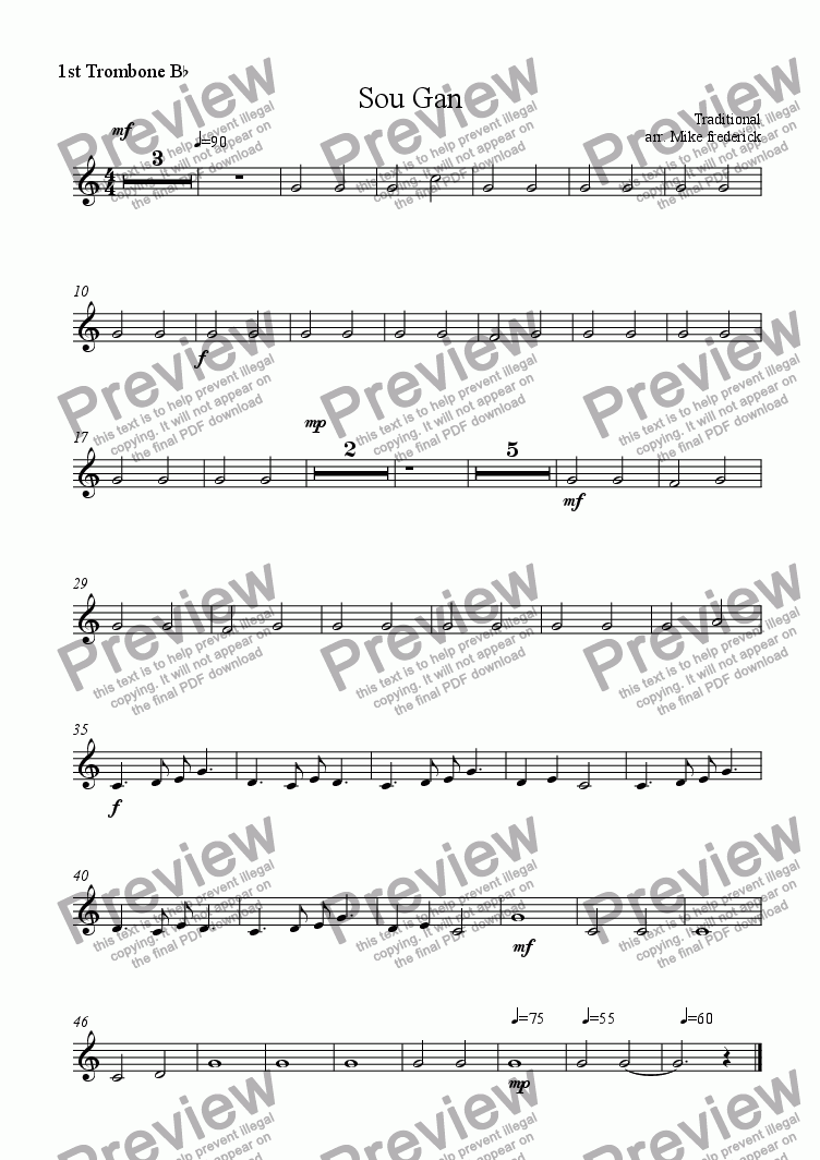 page one of the 1st Trombone B^b part from Sou Gan