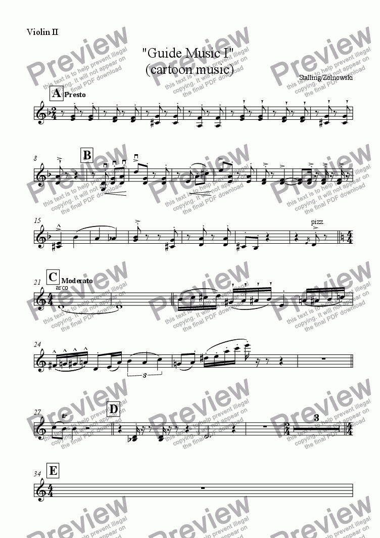 "page one of the Violin II part from ""Guide Music I""  (cartoon music)"