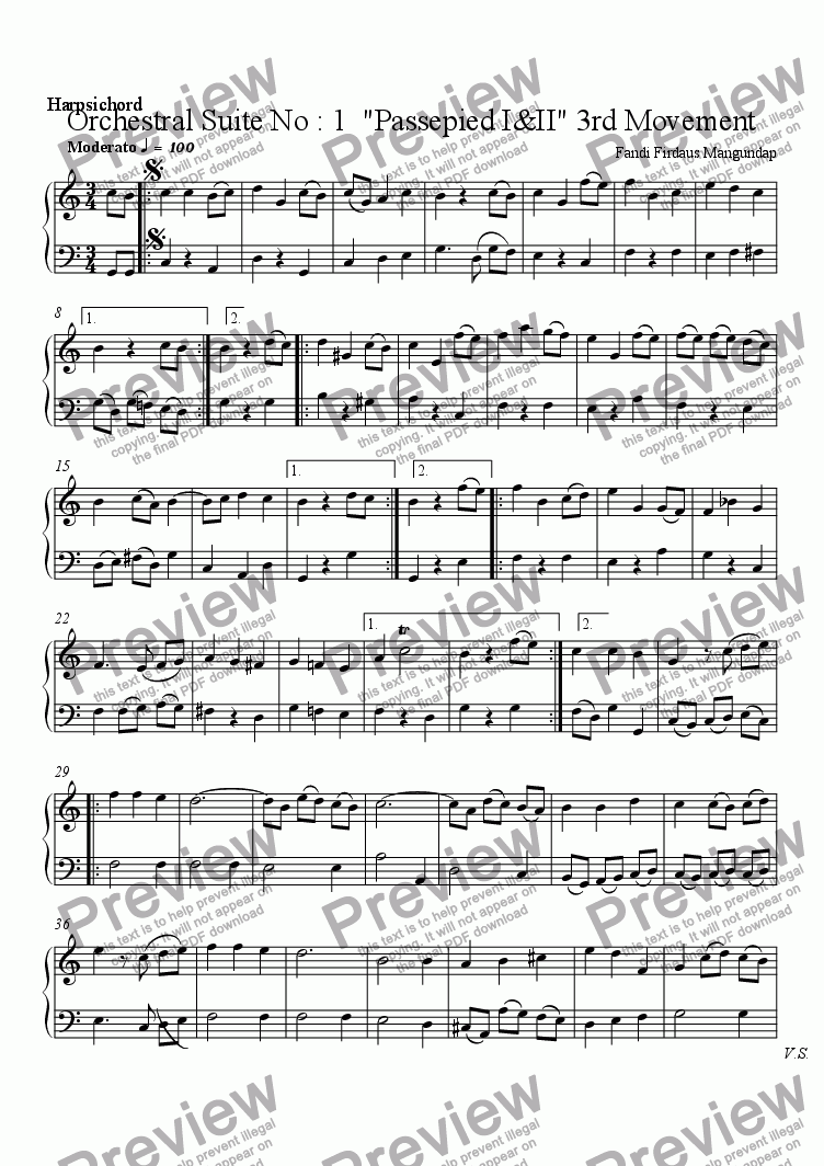 "page one of the Harpsichord part from Orchestral Suite No : 1  ""Passepied I&II"" 3rd Movement"