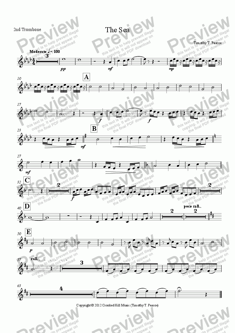 page one of the 2nd Trombone part from The Sea