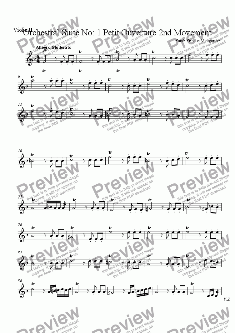 page one of the Violin II part from Orchestral Suite No: 1 Petit Ouverture 2nd Movement