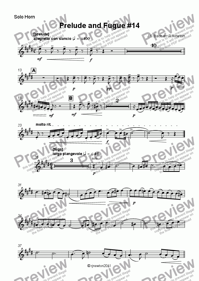page one of the Solo Horn part from Prelude and Fugue #14