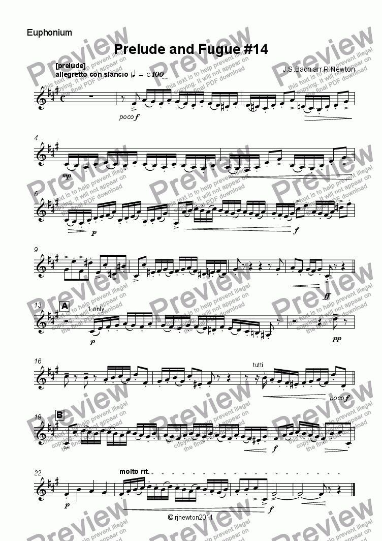 page one of the Euphonium part from Prelude and Fugue #14