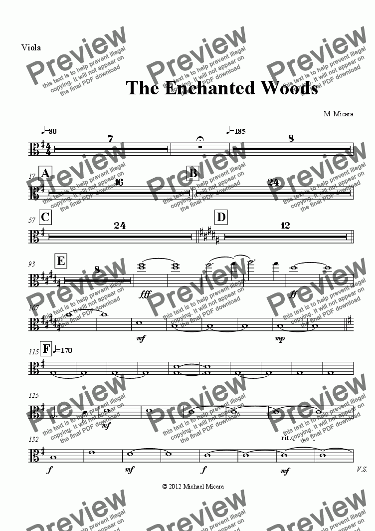 page one of the Viola part from The Enchanted Woods