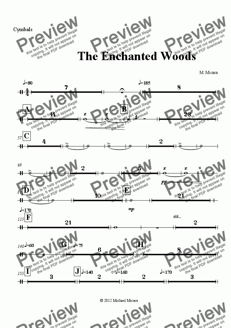 page one of the Cymbals part from The Enchanted Woods