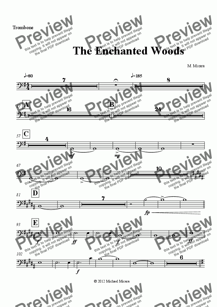 page one of the Trombone part from The Enchanted Woods