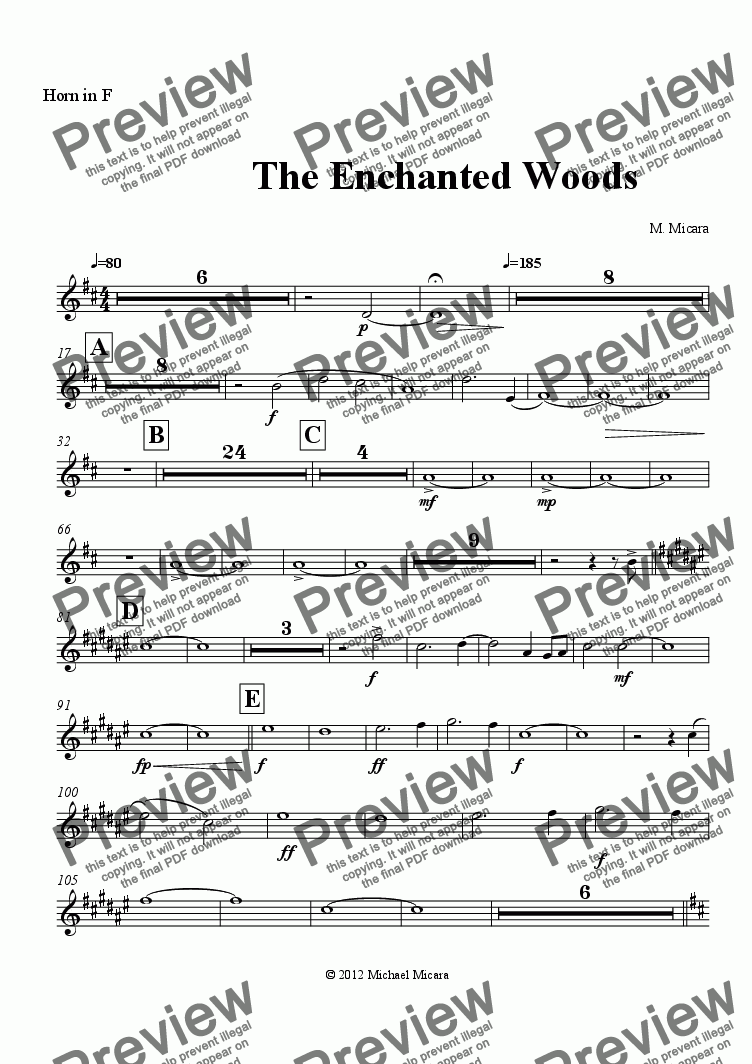 page one of the Horn in F part from The Enchanted Woods