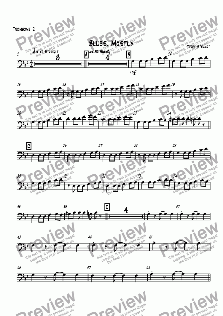page one of the Trombone 2 part from Blues, Mostly