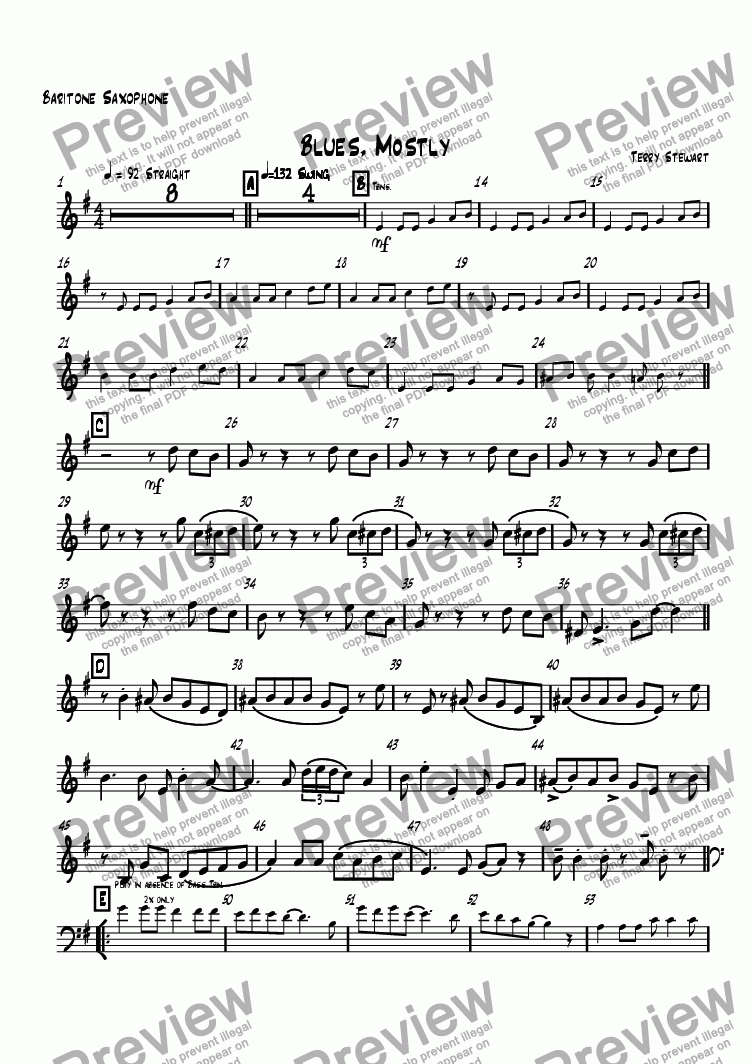 page one of the Baritone Saxophone part from Blues, Mostly