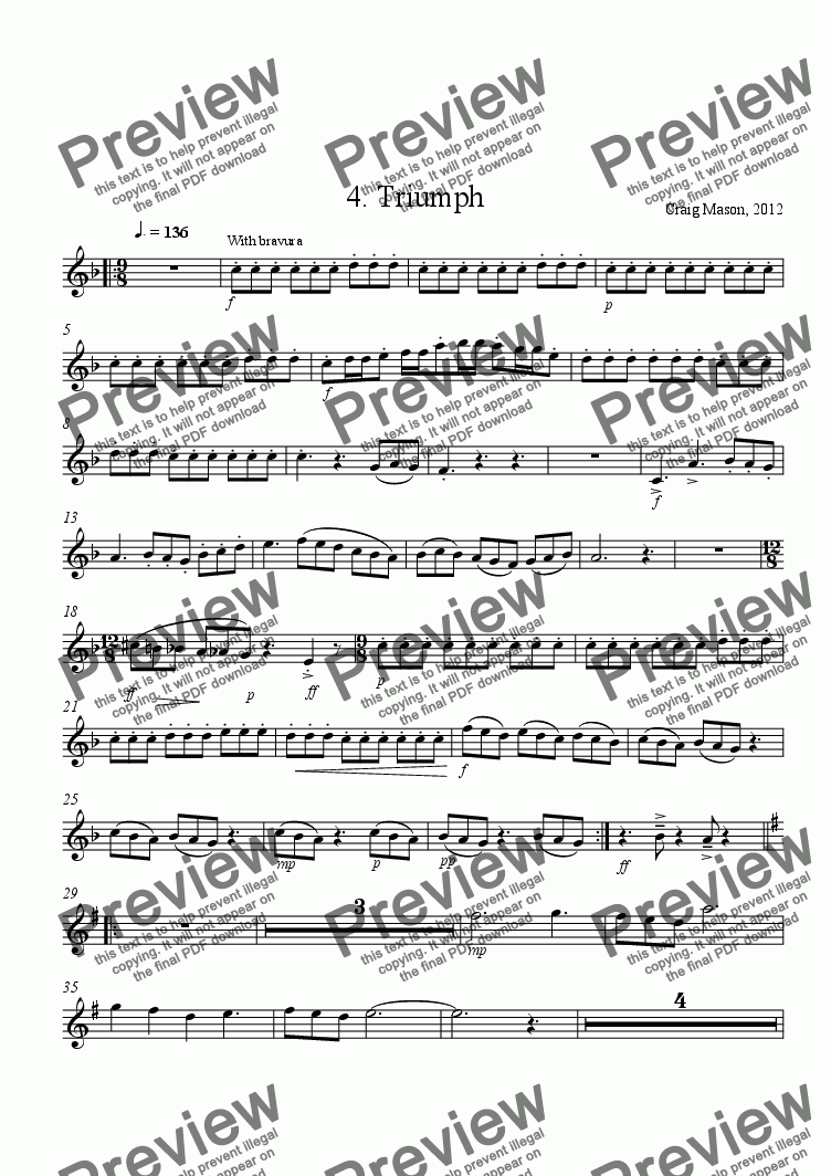page one of the 1st Cornet in B^b part from Triumph-brass band upper brass (7 parts)