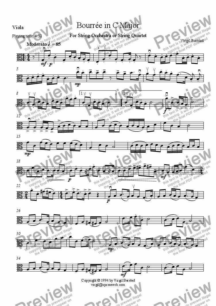 page one of the Viola part from Bourree in C Major