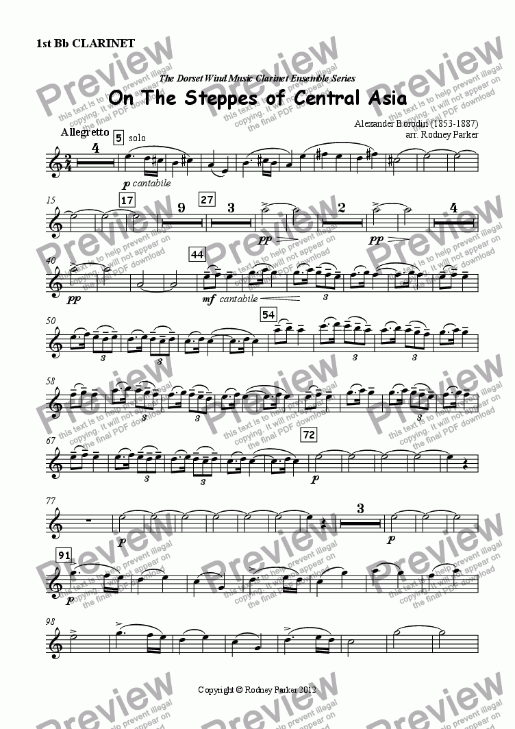 page one of the 1st Clarinet in Bb part from On The Steppes of Central Asia