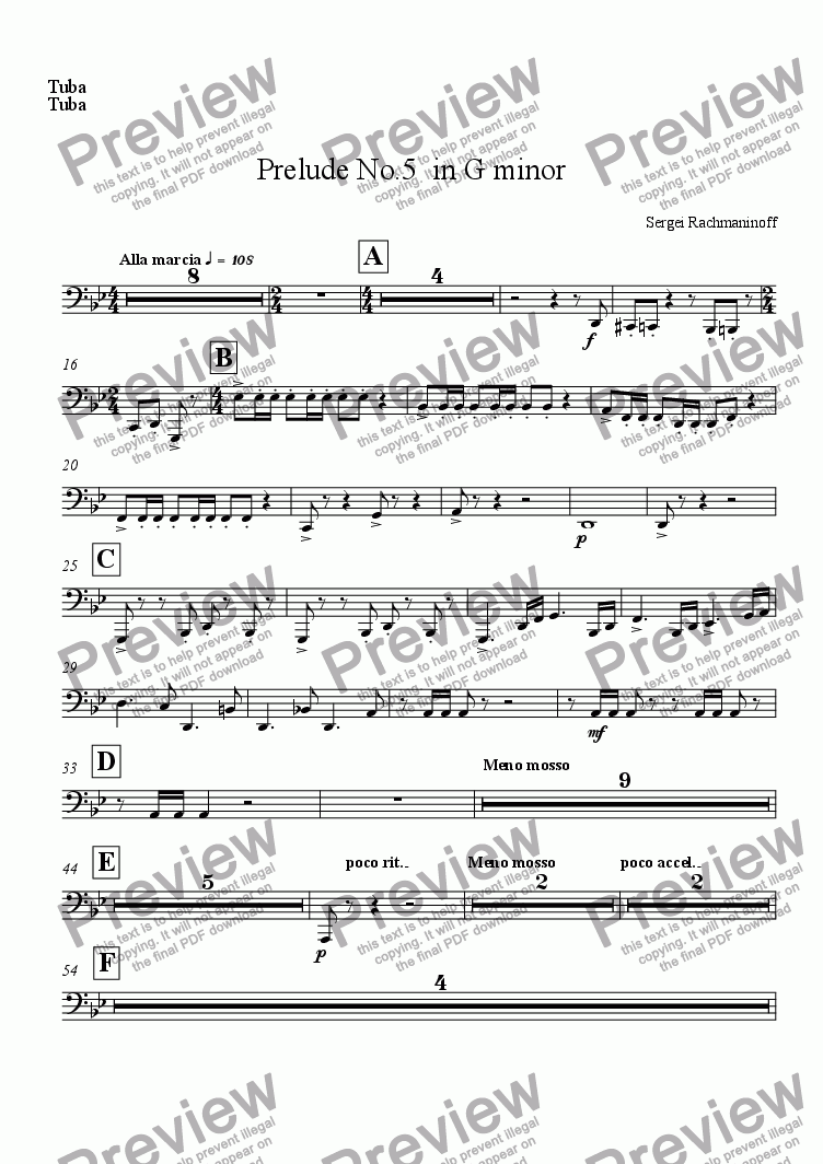 page one of the Tuba part from Prelude No.5  in G minor