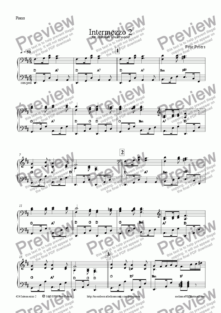 page one of the Piano part from Intermezzo 2 (Recorder+Piano)
