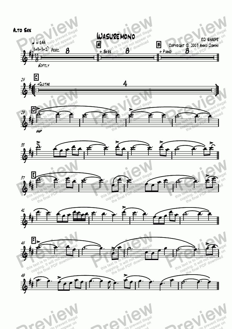 page one of the Alto Sax part from Wasuremono