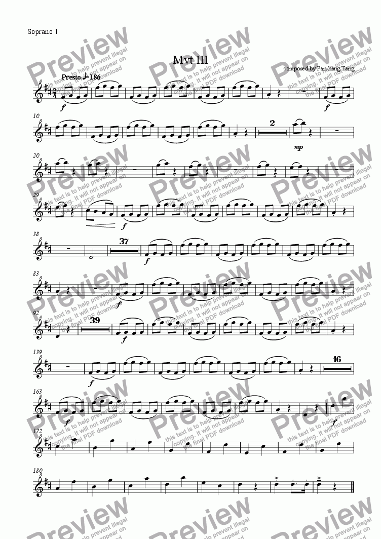 page one of the Soprano 1 part from Concertino for Piano, Clarinet, and Recorder Band - Movement III