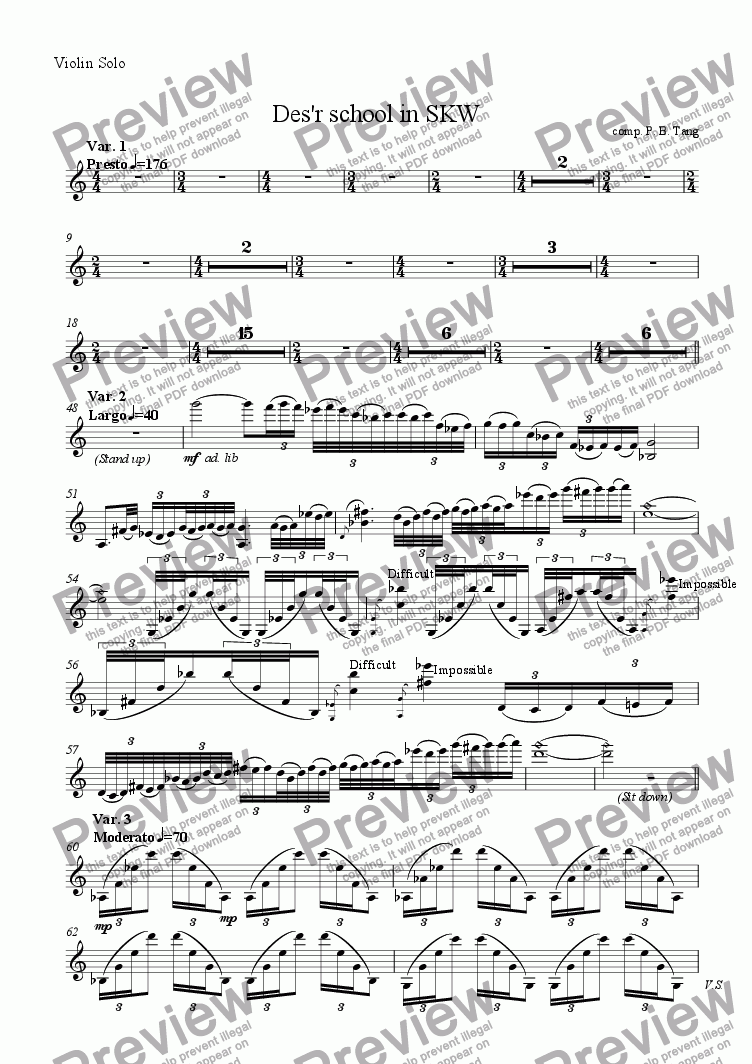 page one of the Violin Solo part from Des'r school in SKW