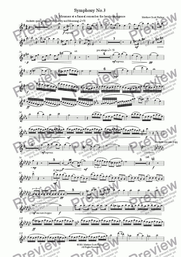 page one of the 1st Flute part from 03: Hero's Tale