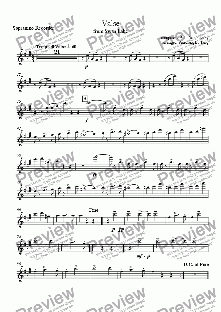page one of the Sopranino Recorder part from Valse from Swan Lake