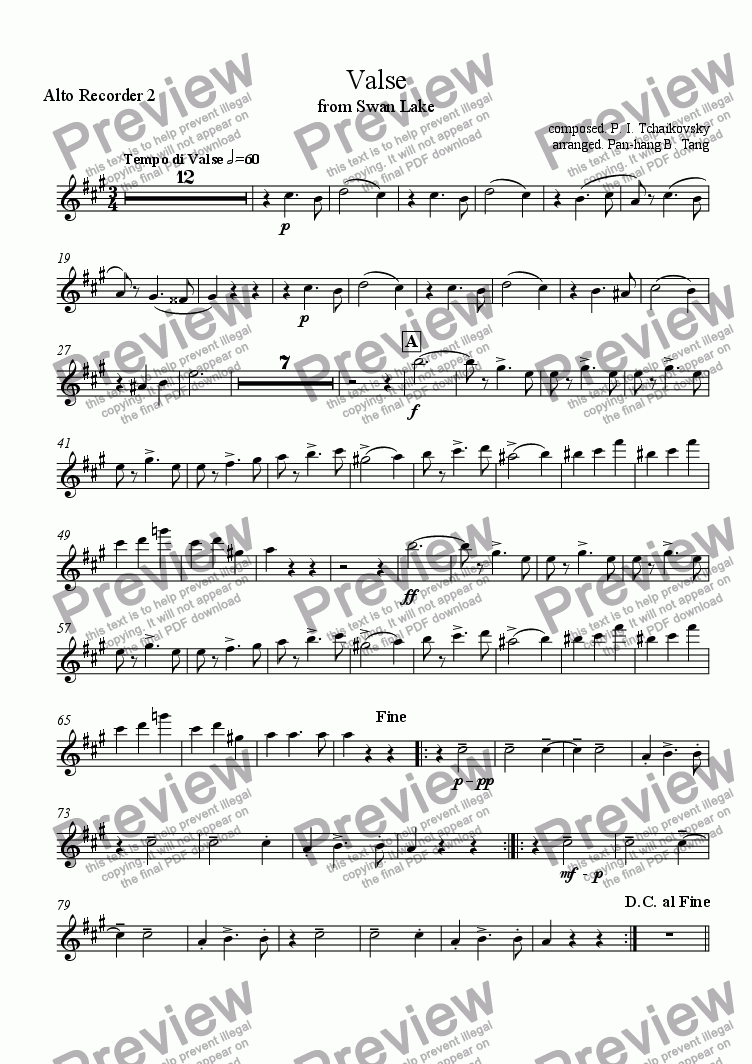 page one of the Alto Recorder 2 part from Valse from Swan Lake