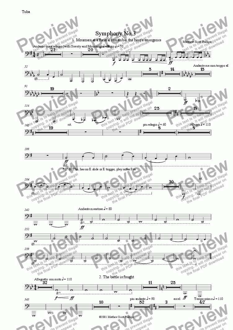 page one of the Tuba part from 03: Hero's Tale