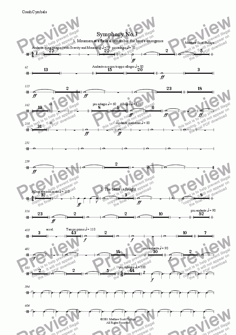 page one of the Crash Cymbals part from 03: Hero's Tale