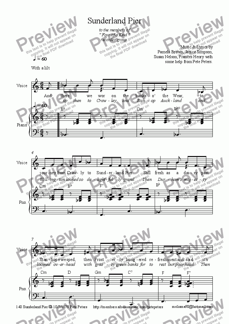 page one of the Vocal part from Sunderland Pier (Geordie Folk song)