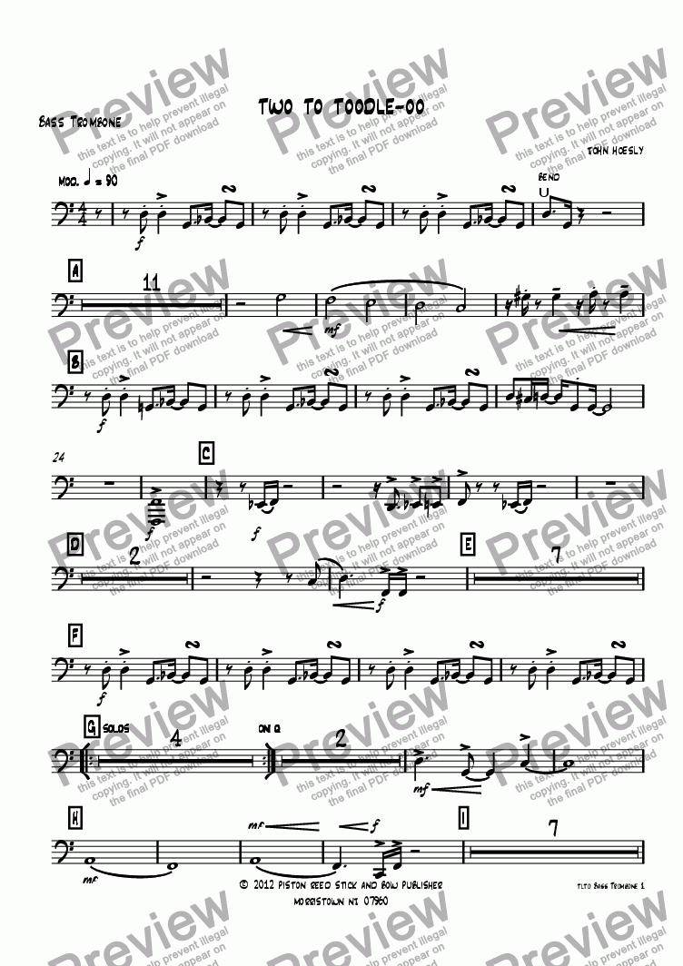 page one of the Bass Trombone part from Two To Toodle-Oo- big band