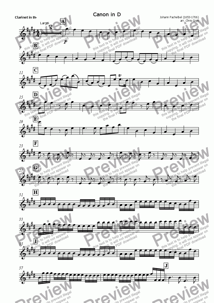 "page one of the Clarinet part from ""Pachelbel's Canon"" for orchestra"