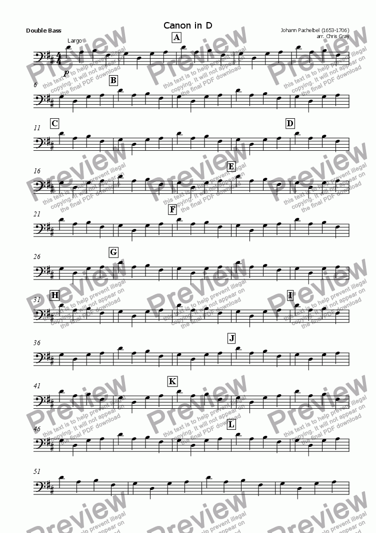 "page one of the Double Bass part from ""Pachelbel's Canon"" for orchestra"