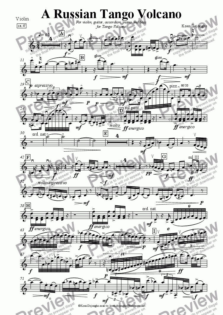 "page one of the Violin part from ""A Russian Tango"" for violin,guitar,bandoneon,piano and bass"""