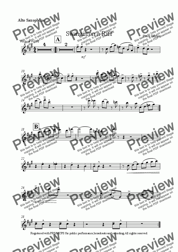 page one of the Alto Saxophone part from Swingin'on a Riff [sax quartet]