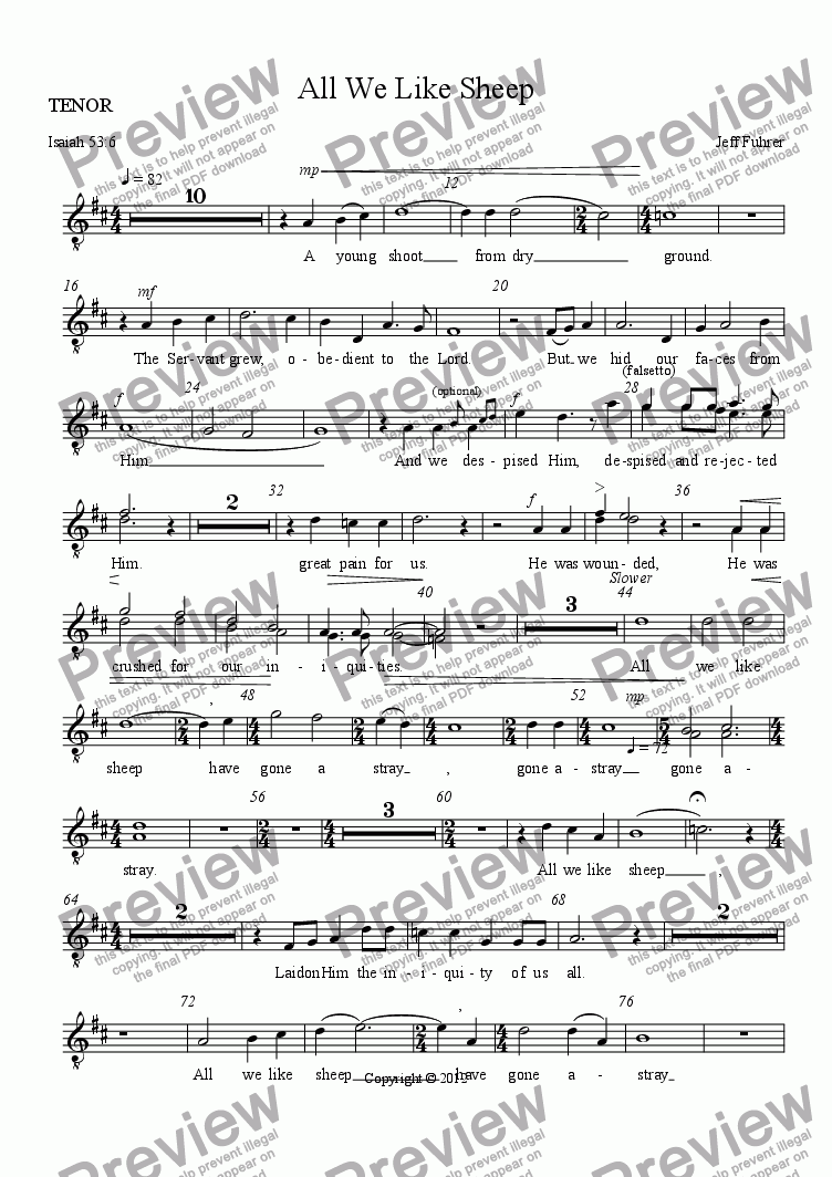 page one of the TENOR part from All We Like Sheep