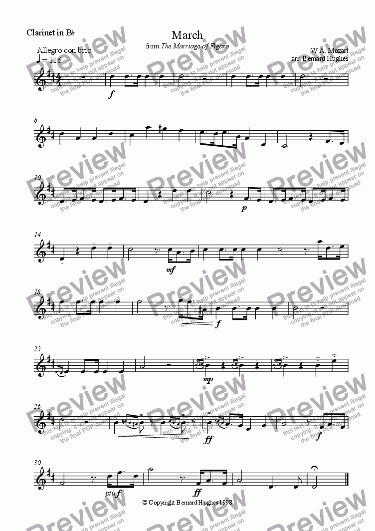 page one of the Clarinet part from 'March' from The Marriage of Figaro