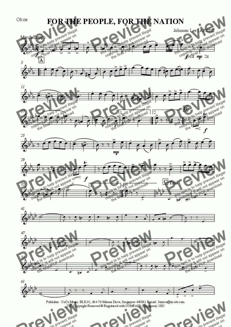 page one of the Oboe part from For The People, For The Nation