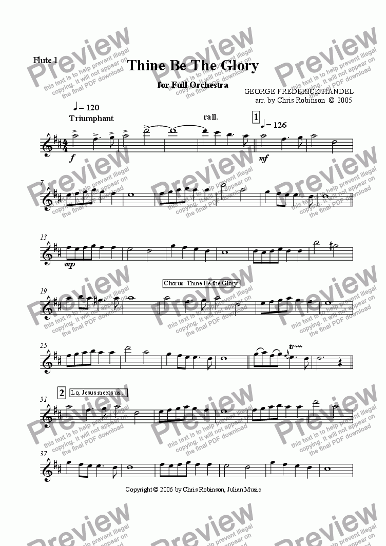 page one of the Flute 1 part from Thine Be The Glory