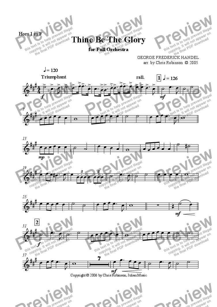 page one of the Horn 1 in F part from Thine Be The Glory